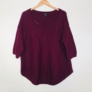 Torrid Short Sleeve Sweater in Merlot Size 3X